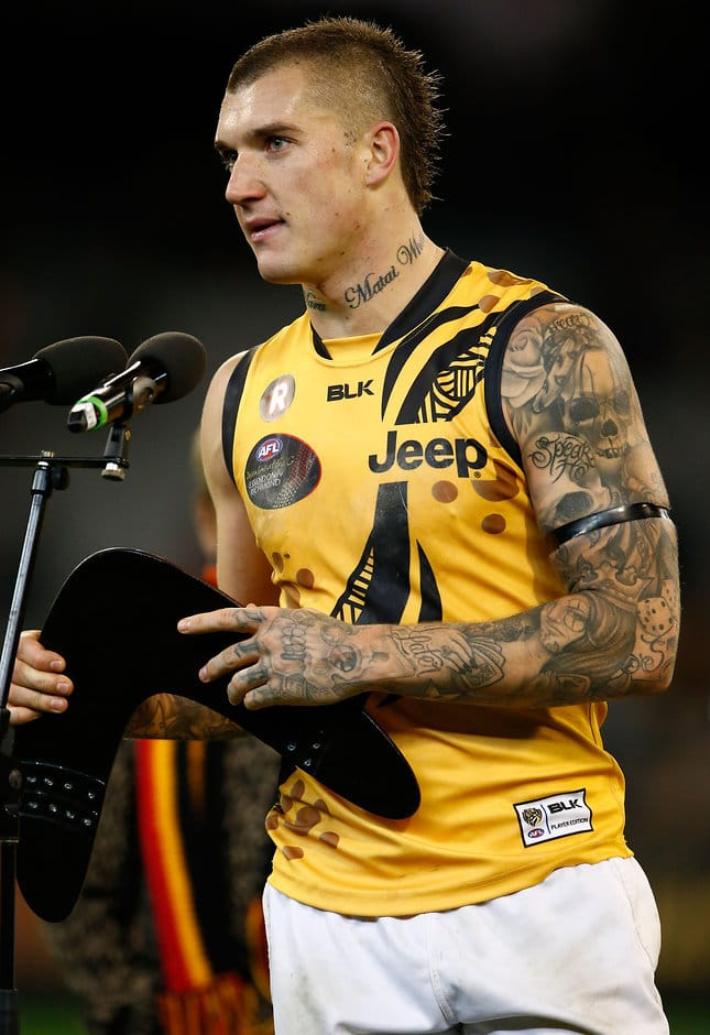 MELBOURNE, AUSTRALIA - MAY 28: Dustin Martin of the Tigers accepts Yiooken Award for best on ground during the 2016 AFL Round 10 Dreamtime at the G match between the Essendon Bombers and the Richmond Tigers at the Melbourne Cricket Ground on May 28, 2016 in Melbourne, Australia. (Photo by Adam Trafford/AFL Media)