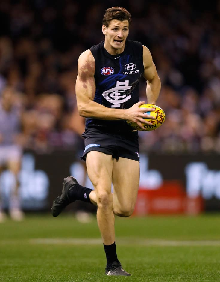 MELBOURNE, AUSTRALIA - MAY 29: Andrejs Everitt of the Blues in action during the 2016 AFL Round 10 match between the Carlton Blues and the Geelong Cats at Etihad Stadium on May 29, 2016 in Melbourne, Australia. (Photo by Michael Willson/AFL Media)