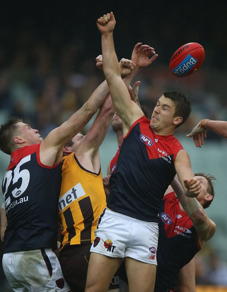 MELBOURNE, AUSTRALIA - JUNE 04: Jack Trengove of the Demons attempts to spoil during the 2016 AFL Round 11 match between the Hawthorn Hawks and the Melbourne Demons at the Melbourne Cricket Ground on June 4, 2016 in Melbourne, Australia. (Photo by Sean Garnsworthy/AFL Media)