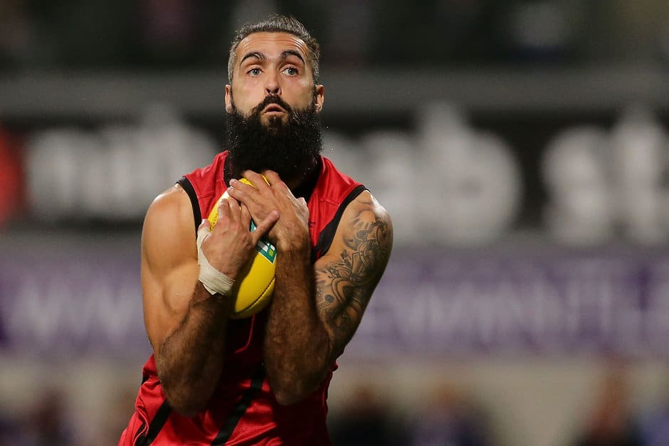 PERTH, AUSTRALIA - JUNE 04: Courtenay Dempsey of the Bombers marks the ball during the 2016 AFL Round 11 match between the Fremantle Dockers and the Essendon Bombers at Domain Stadium on June 4, 2016 in Perth, Australia. (Photo by Will Russell/AFL Media)