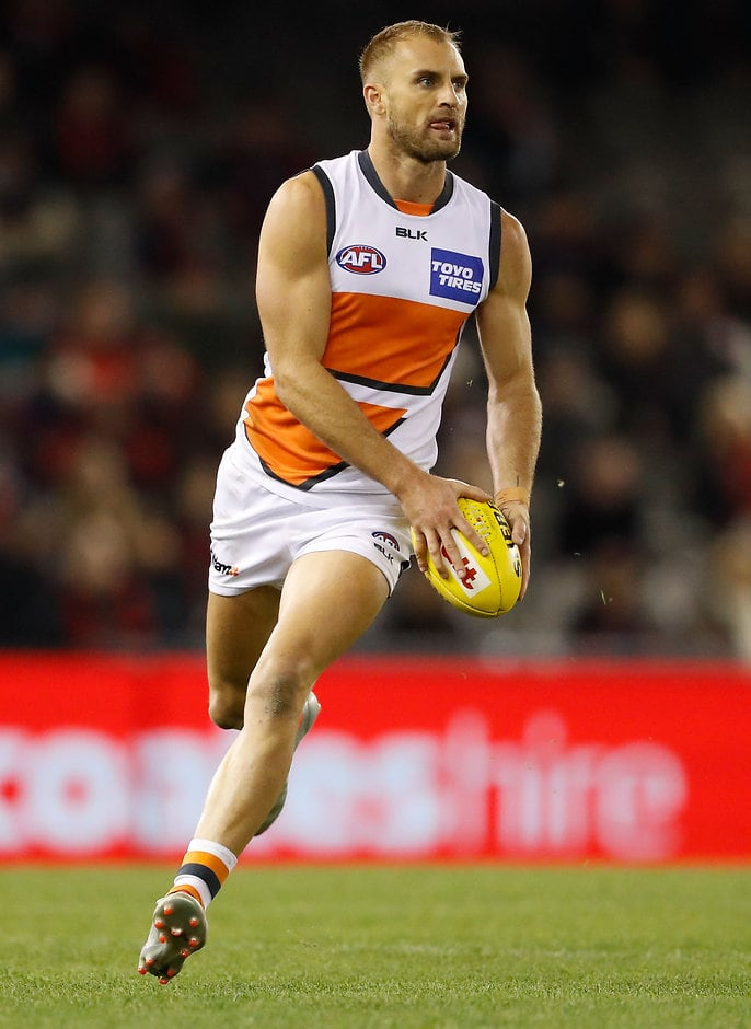 MELBOURNE, AUSTRALIA - JUNE 19: Joel Patfull, GWS Giants in action during the 2016 AFL Round 13 match between the Essendon Bombers and the GWS Giants at Etihad Stadium on June 19, 2016 in Melbourne, Australia. (Photo by Adam Trafford/AFL Media)