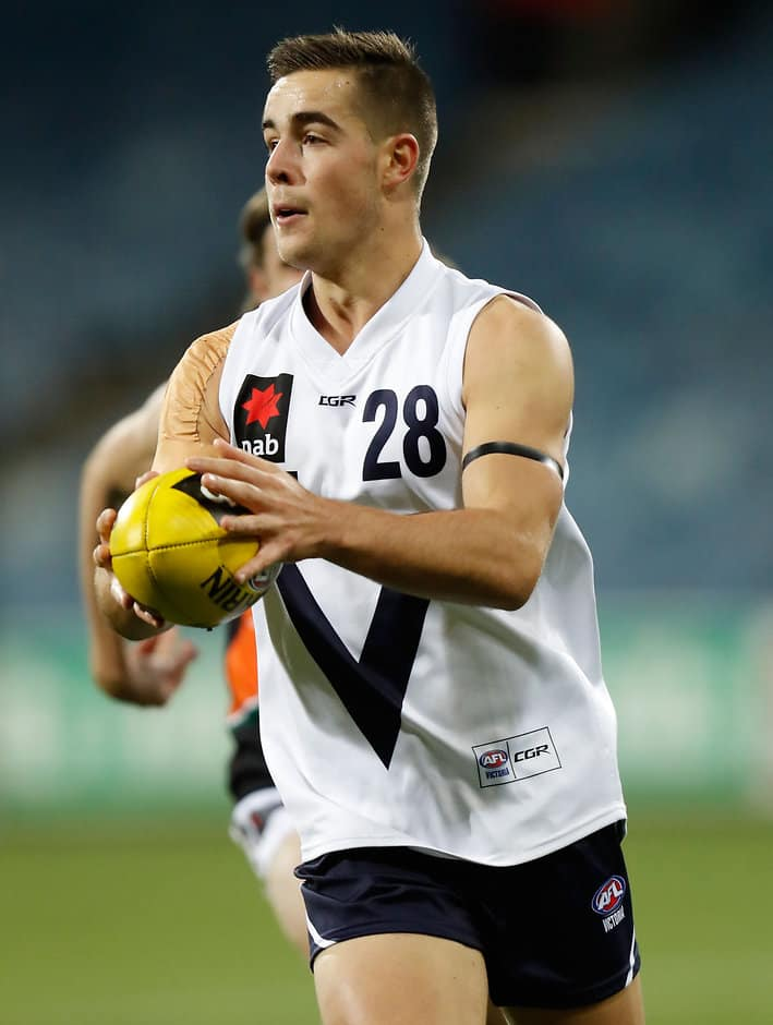 GEELONG, AUSTRALIA - JUNE 29: Myles Poholke of Vic Country in action during the Under 18 Championship match between Vic Country and the Allies at Simonds Stadium on June 29, 2016 in Geelong, Australia. (Photo by Michael Willson/AFL Media)
