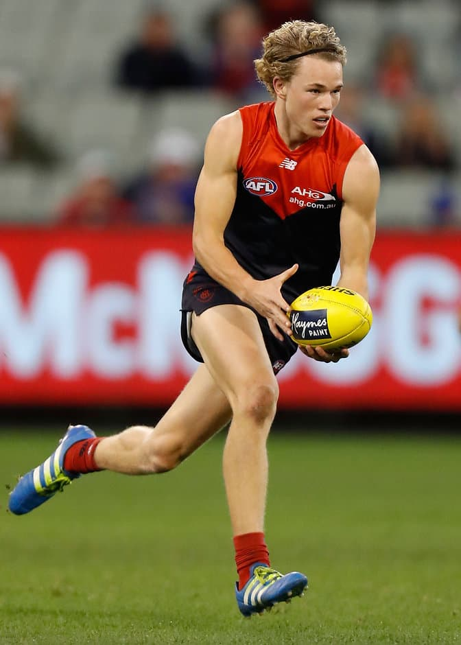 MELBOURNE, AUSTRALIA - JULY 03: Jayden Hunt of the Demons in action during the 2016 AFL Round 15 match between the Melbourne Demons and the Adelaide Crows at the Melbourne Cricket Ground on July 3, 2016 in Melbourne, Australia. (Photo by Michael Willson/AFL Media)