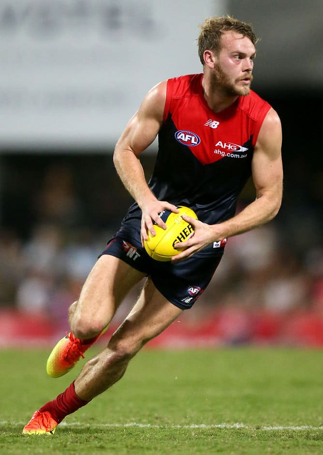 DARWIN, AUSTRALIA - JULY 09: Jack Watts of the Demons in action during the 2016 AFL Round 16 match between the Melbourne Demons and the Fremantle Dockers at TIO Stadium on July 9, 2016 in Darwin, Australia. (Photo by Justine Walker/AFL Media)