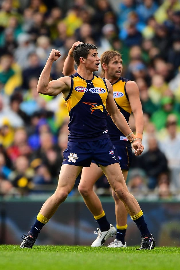 PERTH, AUSTRALIA - JULY 23: Liam Duggan and Mark LeCras of the Eagles celebrates a goal during the 2016 AFL Round 18 match between the West Coast Eagles and the Melbourne Demons at Domain Stadium on July 23, 2016 in Perth, Australia. (Photo by Daniel Carson/AFL Media)