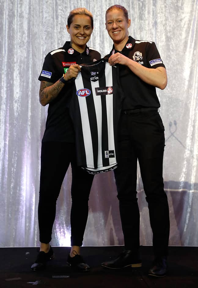 MELBOURNE, AUSTRALIA - JULY 27: Moana Hope of the Magpies is presented with her jumper by Meg Hutchins during the national women's league marquee players announcement at Etihad Stadium in Melbourne, Australia on July 27, 2016. (Photo by Michael Willson/AFL Media)