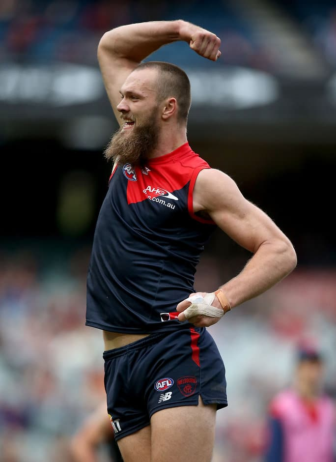 MELBOURNE, AUSTRALIA - AUGUST 06: Max Gawn of the Demons celebrates a goal during the 2016 AFL Round 20 match between the Melbourne Demons and the Hawthorn Hawks at the Melbourne Cricket Ground on August 06, 2016 in Melbourne, Australia. (Photo by Justine Walker/AFL Media)