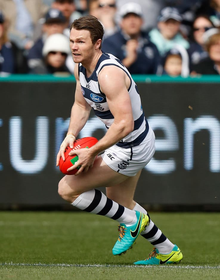 GEELONG, AUSTRALIA - AUGUST 27: Patrick Dangerfield of the Cats in action during the 2016 AFL Round 23 match between the Geelong Cats and the Melbourne Demons at Simonds Stadium on August 27, 2016 in Geelong, Australia. (Photo by Michael Willson/AFL Media)