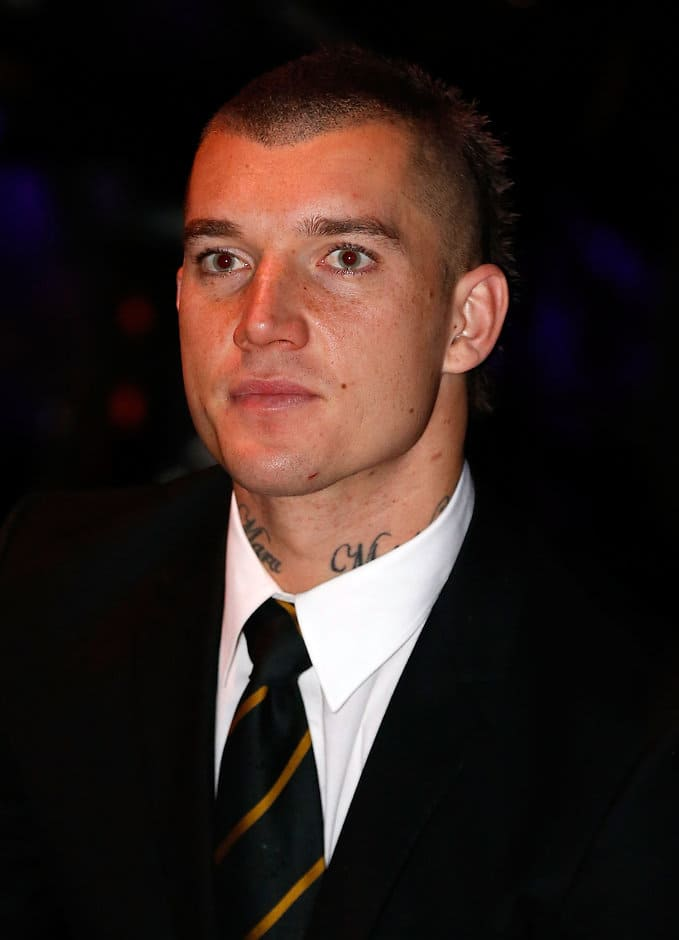 MELBOURNE, AUSTRALIA - SEPTEMBER 01: Dustin Martin of the Tigers is seen during Virgin Australia AFL All Australian Dinner at the Melbourne Exhibition Centre on September 01, 2016 in Melbourne, Australia. (Photo by Adam Trafford/AFL Media)