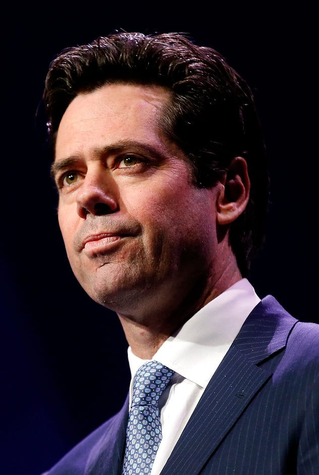 MELBOURNE, AUSTRALIA - SEPTEMBER 01: AFL CEO Gillon McLachlan addresses the room during Virgin Australia AFL All Australian Dinner at the Melbourne Exhibition Centre on September 01, 2016 in Melbourne, Australia. (Photo by Adam Trafford/AFL Media)