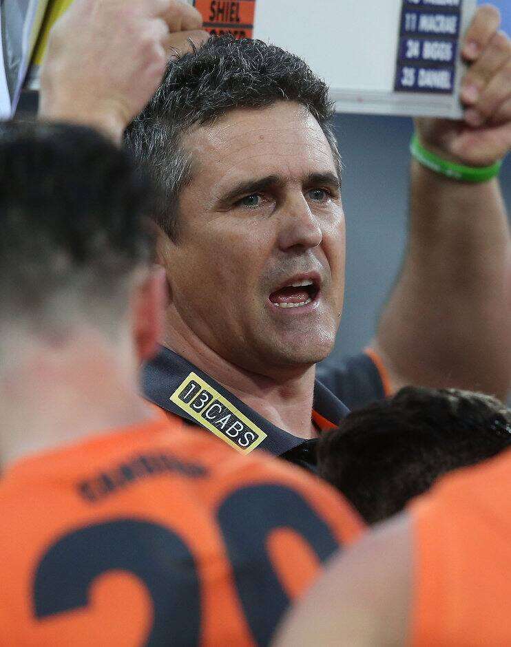 SYDNEY, AUSTRALIA - SEPTEMBER 24: Leon Cameron, Senior Coach of the Giants addresses his players during the 2016 AFL First Preliminary Final match between the GWS Giants and the Western Bulldogs at Spotless Stadium on September 24, 2016 in Sydney, Australia. (Photo by Sean Garnsworthy/AFL Media)