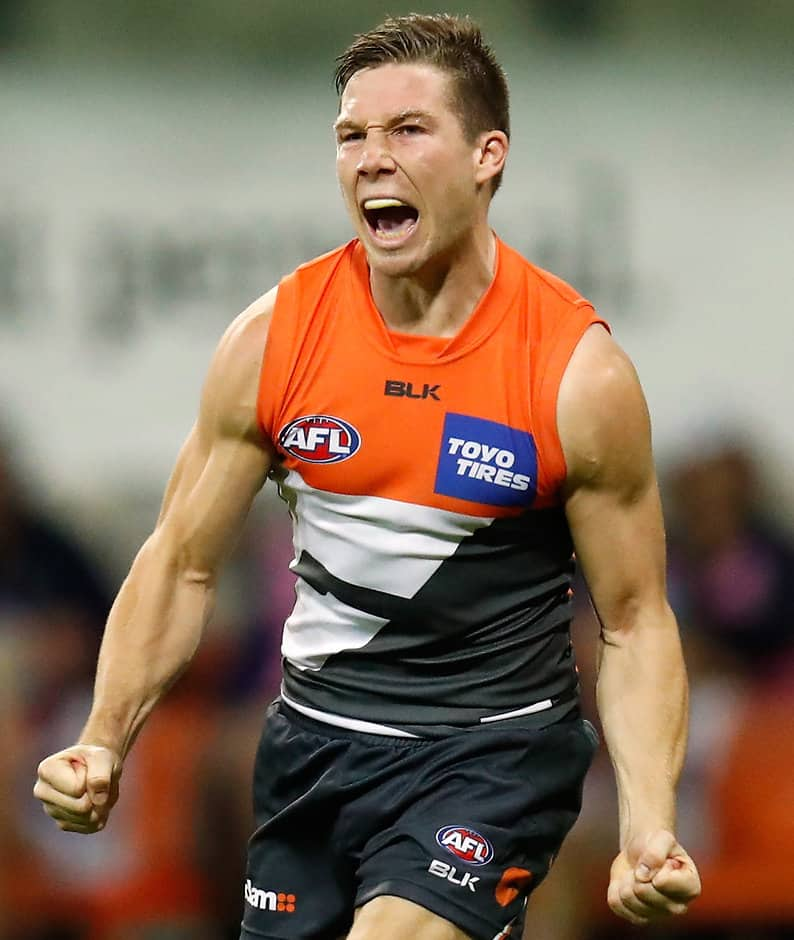 SYDNEY, AUSTRALIA - SEPTEMBER 24: Toby Greene of the Giants celebrates during the 2016 AFL First Preliminary Final match between the GWS Giants and the Western Bulldogs at Spotless Stadium on September 24, 2016 in Sydney, Australia. (Photo by Michael Willson/AFL Media)