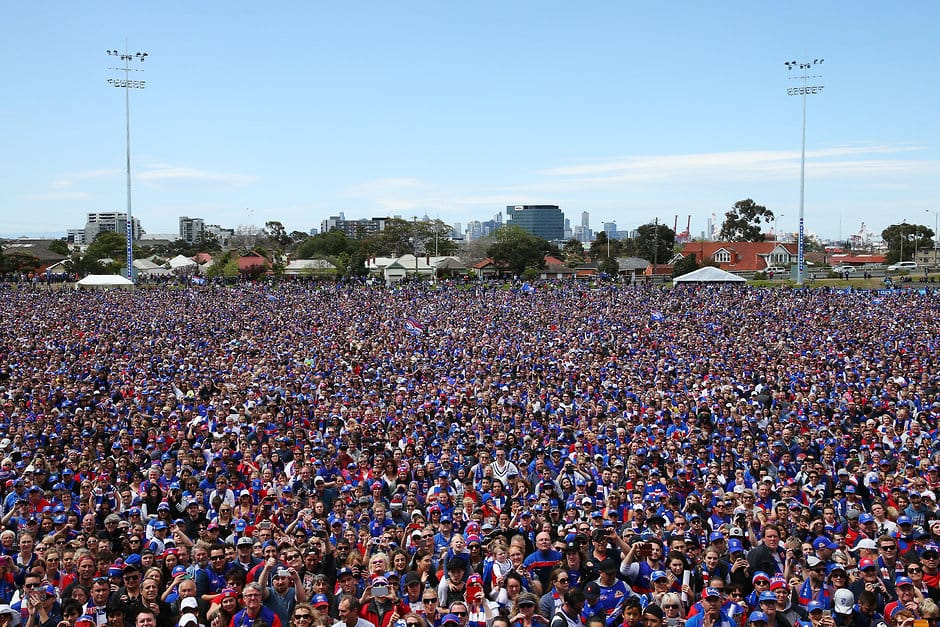 MELBOURNE, AUSTRALIA - OCTOBER 02: A large crowd  of fans is seen during the Western Bulldogs family day at the VU Whitten Oval on October 02, 2016 in Melbourne, Australia. (Photo by Michael Dodge/AFL Media)