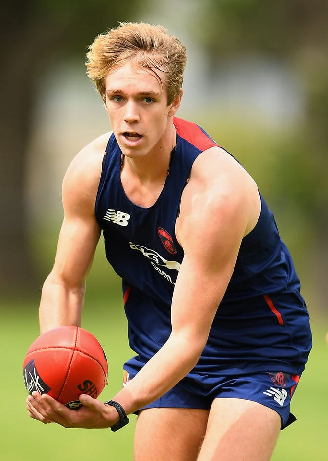 MELBOURNE, AUSTRALIA - NOVEMBER 07:  Pat McKenna of the Demons handballs during a Melbourne Demons AFL pre-season training session at Gosch's Paddock on November 7, 2016 in Melbourne, Australia.  (Photo by Quinn Rooney/Getty Images/AFL Media)