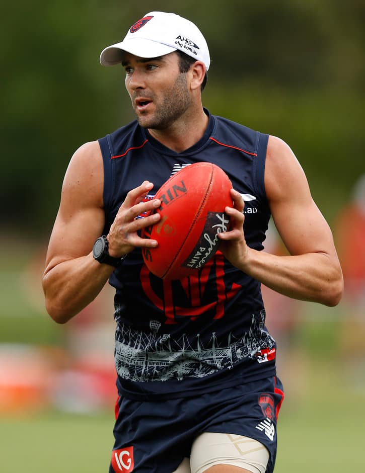 MELBOURNE, AUSTRALIA - NOVEMBER 21: Jordan Lewis of the Demons in action during the Melbourne Demons training session at Gosch's Paddock in Melbourne, Australia on November 21, 2016. (Photo by Michael Willson/AFL Media)