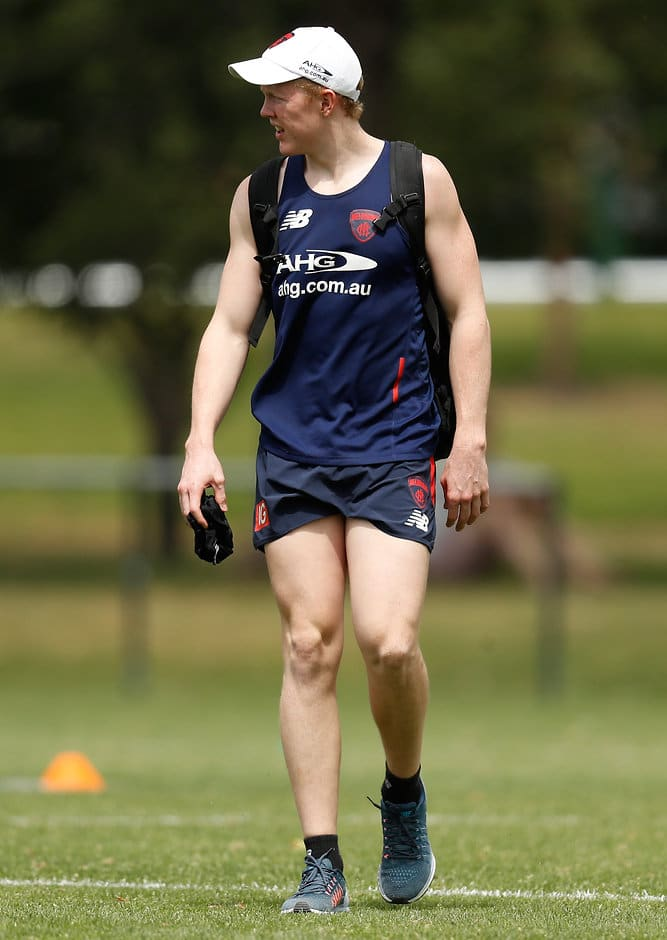 MELBOURNE, AUSTRALIA - NOVEMBER 21: Clayton Oliver of the Demons in action during the Melbourne Demons training session at Gosch's Paddock in Melbourne, Australia on November 21, 2016. (Photo by Michael Willson/AFL Media)