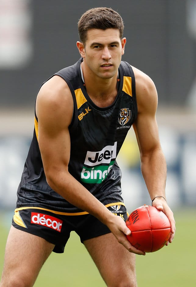 MELBOURNE, AUSTRALIA - NOVEMBER 28: New draftee Jack Graham of the Tigers in action during the Richmond Tigers training session at Punt Road Oval in Melbourne, Australia on November 28, 2016. (Photo by Adam Trafford/AFL Media)
