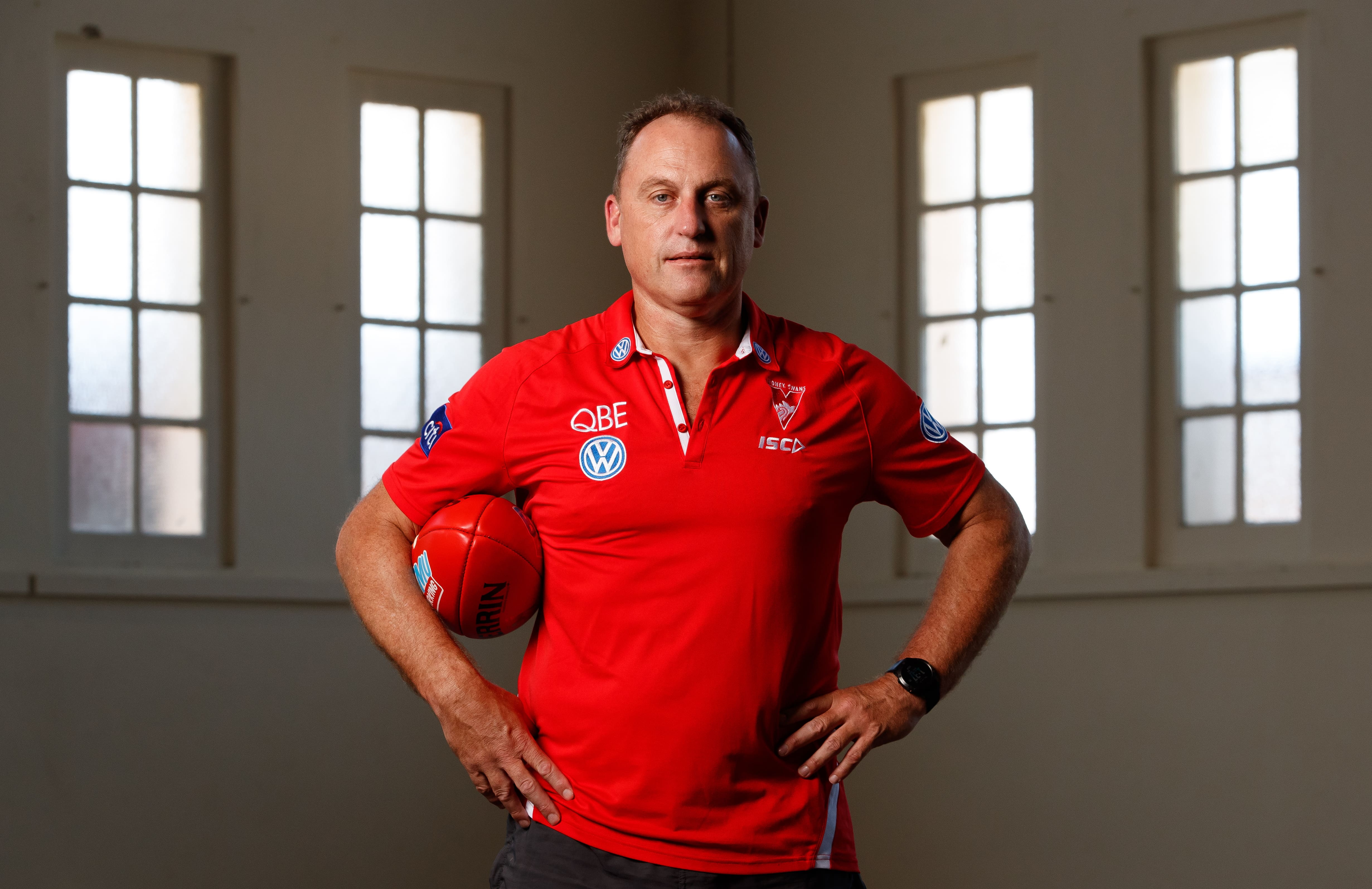 SYDNEY, AUSTRALIA - JANUARY 31: John Longmire, Senior Coach of the Swans poses for a photograph during the Sydney Swans 2019 official team photo day at the Royal Hall of Industries on January 31, 2019 in Sydney, Australia. (Photo by Adam Trafford/AFL Media)