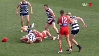 Cat left groggy after Heeney tackle