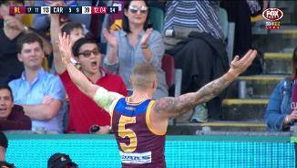 Which set of fans is Robbo gesturing at?
