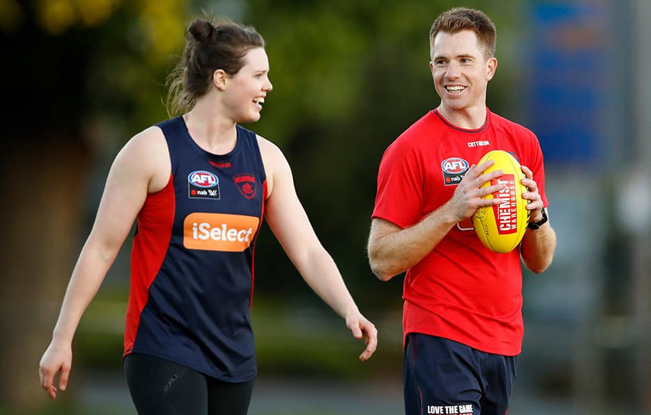 New co-captain Elise O'Dea with coach Mick Stinear (photo by Adam Trafford/AFL Media).