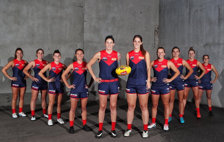Kate Hore, Katherine Smith, Lily Mithen, Aliesha Newman, Tegan Cunningham, Lauren Pearce, Maddi Gay, Maddy Guerin, Sarah Lampard and Chantel Emonson are among Melbourne's re-signings. (Photo: Matt Goodrope) - AFLW