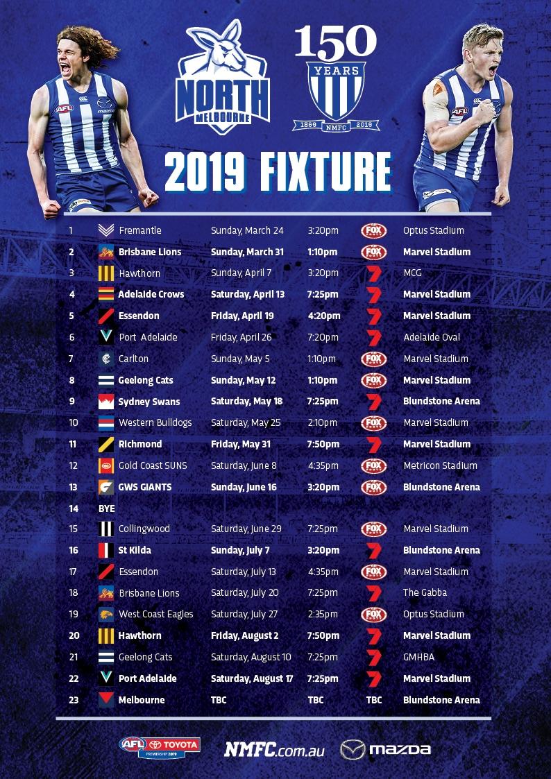 Afl Calendar 2019 Team   NMFC.com.au