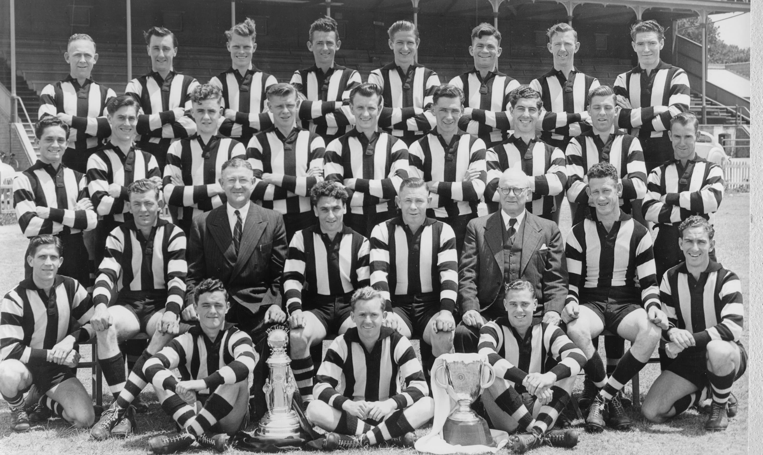 Dean Trowse, third row, from the left in the 1951 premiership team