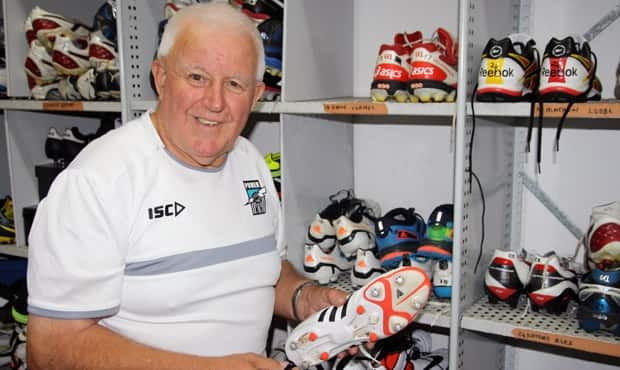Alfie Trebilcock in the Port Adelaide boot room