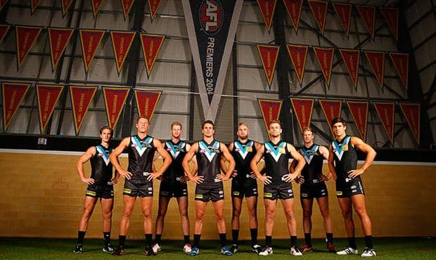 Port Adelaide's 2014 leadership group (L-R) Hamish Hartlett, Brad Ebert, Matthew Lobbe, Travis Boak, Jackson Trengove, Robbie Gray, Tom Jonas and Angus Monfries