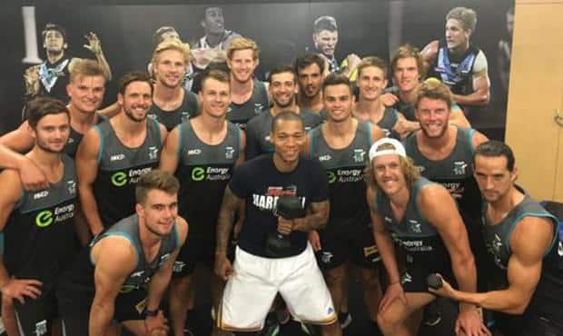 Jerome Randle in the Port Adelaide gym