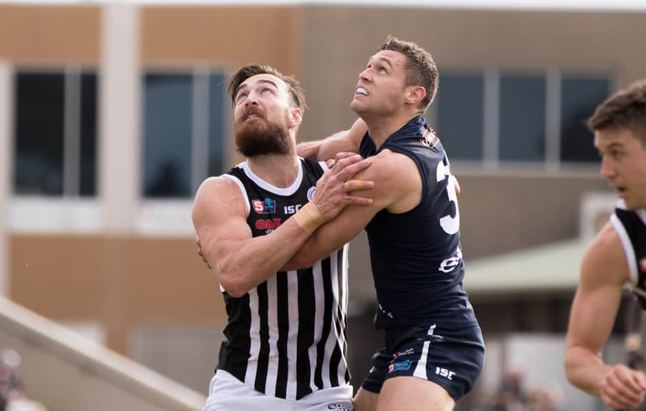 Port Adelaide key forward Charlie Dixon kicked three goals against the Panthers at Flinders University Stadium on Sunday afternoon. - Port Adelaide Magpies