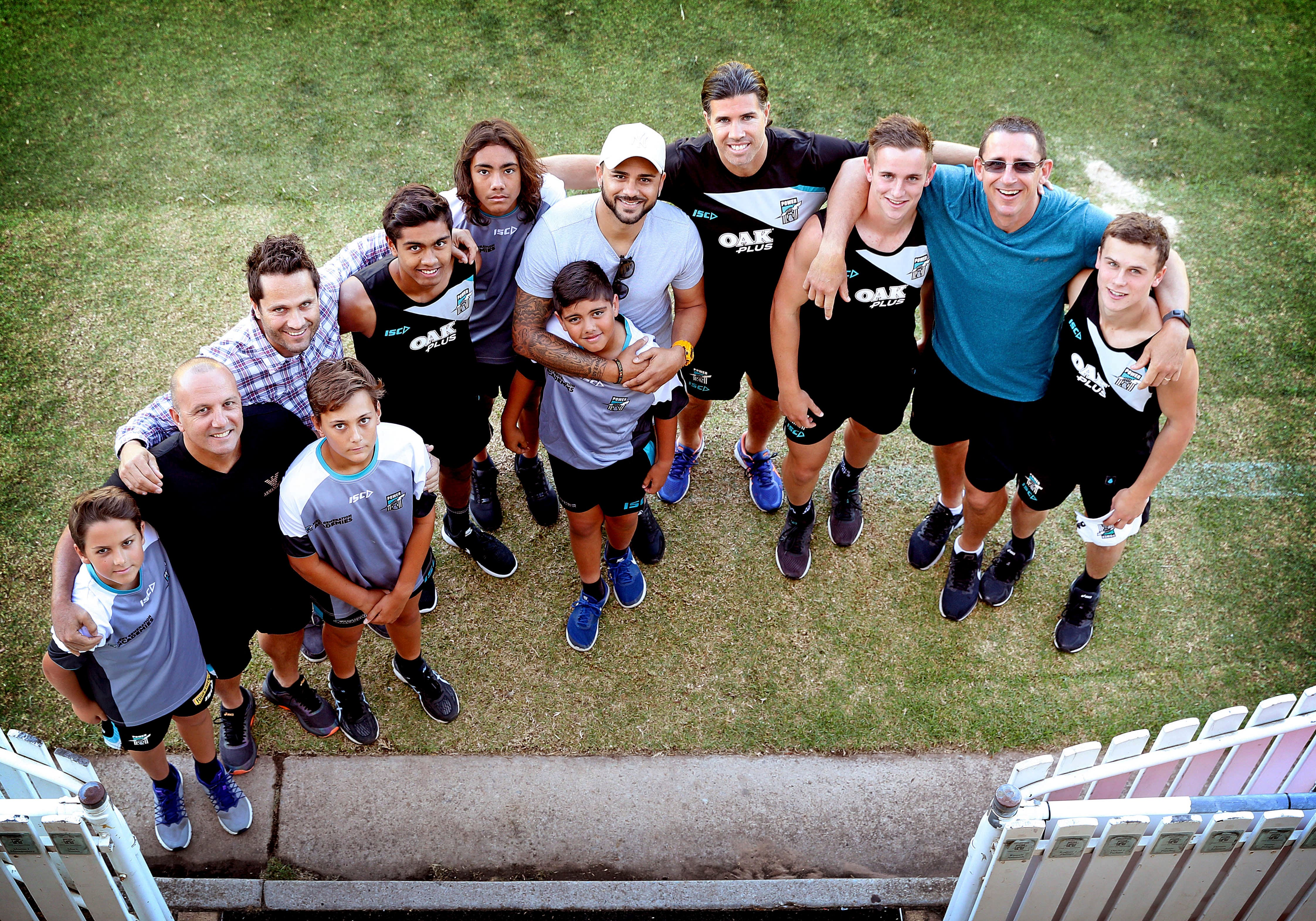 Port Adelaide FC's father/son academy featuring the Wanganeens, Lades, Burgoynes, Meads, Schofields and Fiacchis.