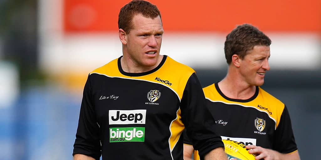 Justin Leppitsch and Damien Hardwick during a training session in 2012