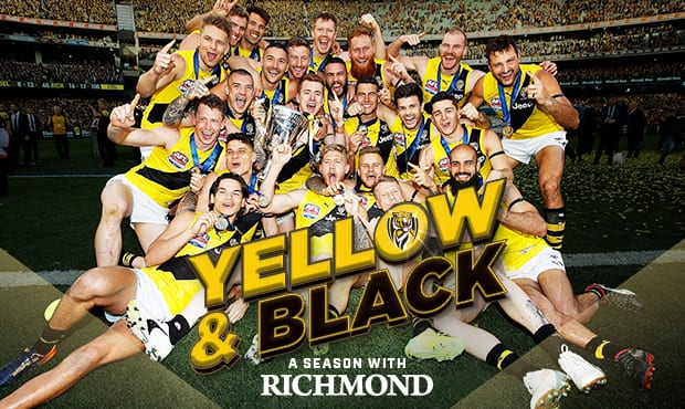 The cover of YELLOW & BLACK—A season with Richmond