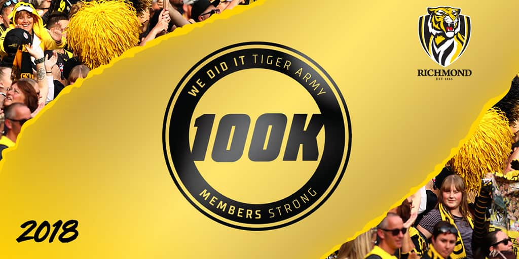 Tiger Army reaches 100,000 - richmondfc com au