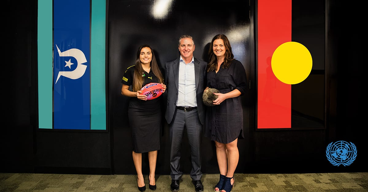 KGI's Indigenous female youth leaders, Tahlia Biggs (left) and Thara Brown, with Tandem CEO Jonathan Field