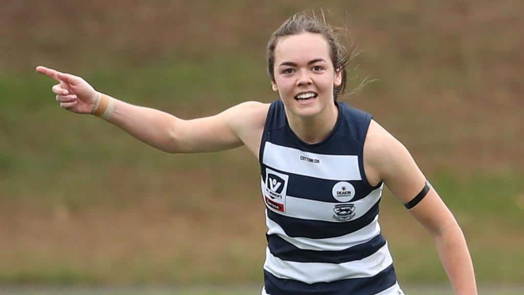 Hannah Burchell during her playing days with the Geelong VFLW team - Richmond Tigers,AFLW
