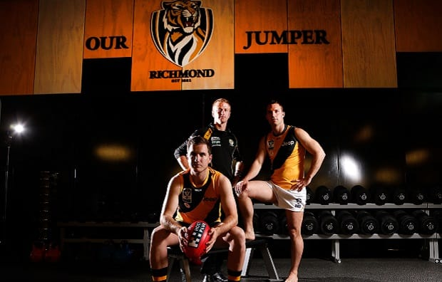 Richmond VFL Coach Tim Clarke, Captain Ross Young and midfielder Pat Contin at the launch of the Richmond VFL team.