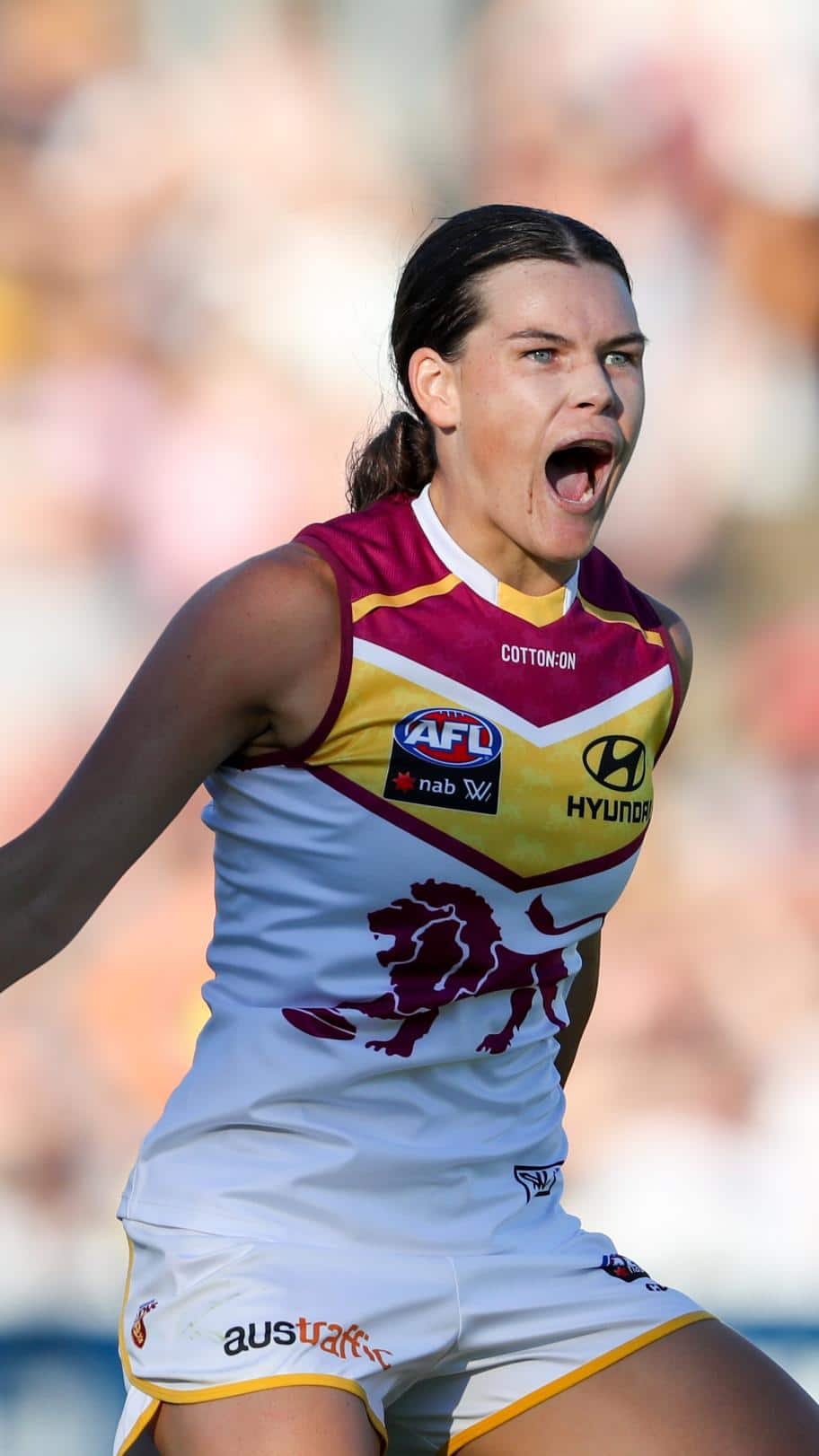 Sophie Conway celebrates a goal on Saturday - AFLW,Adelaide Crows,Brisbane Lions