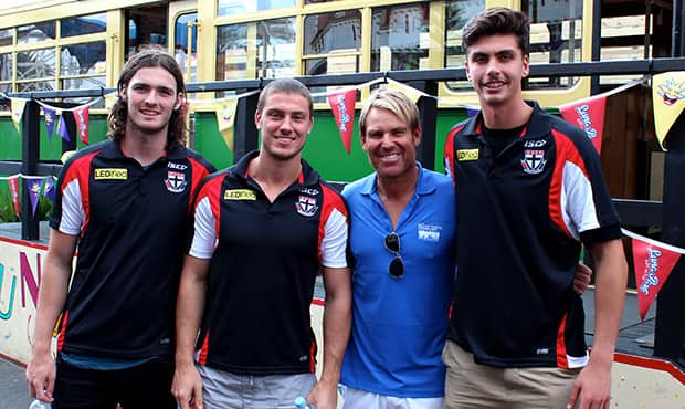 SAINTS SUPPORT A GREAT CAUSE (L-R): Dylan Roberton, Nathan Wright, Shane Warne and Lewis Pierce