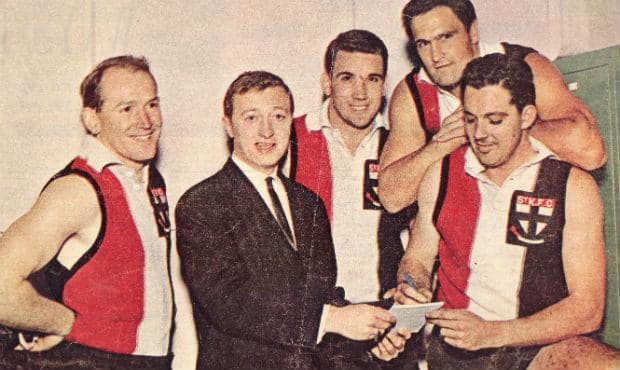 Australian TV legend Graham Kennedy catches up with Saints players in the 1960s.