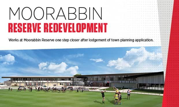 Major redevelopment works at Moorabbin Reserve are one step closer after St Kilda Football Club late last week lodged a town planning application for the $29m project.