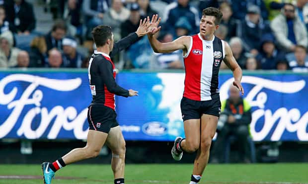 Two young rucks jostle for position as the Saints look to upset the Bombers on Friday night. - St Kilda Saints,Essendon Bombers,In the Mix