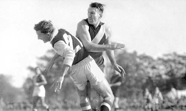 The late Saint Tom Meehan's legacy lives on in this iconic photo with Jack Dyer. - St Kilda Saints