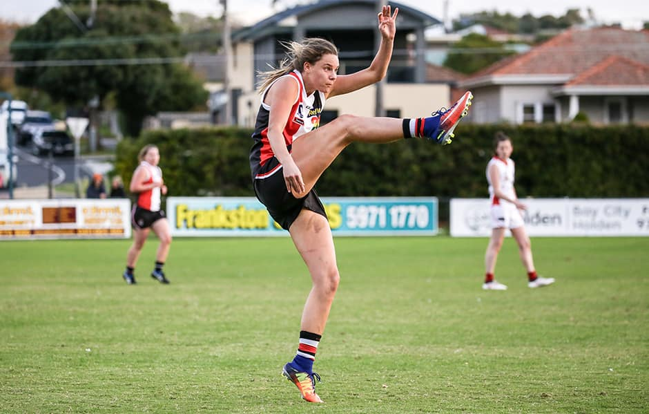 Rhiannon Watt will once again don the red, white and black, signing on to St Kilda's inaugural AFLW team. - St Kilda Saints