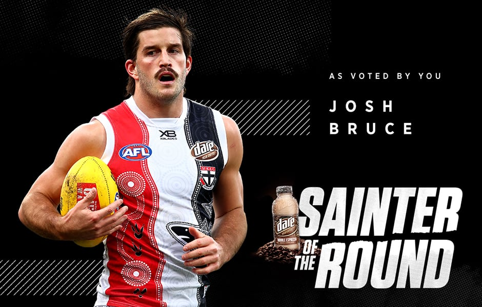 Josh Bruce's six goals saw him claim the Dare Iced Coffee Sainter of the Round. - St Kilda Saints,Josh Bruce,Jack Steele,Jack Billings