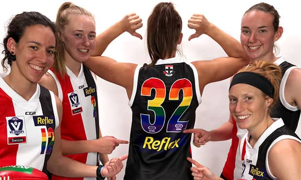 "The Southern Saints will wear a ""Pride"" strip on Saturday in recognition of IDAHOBIT. - St Kilda Saints,AFLW"