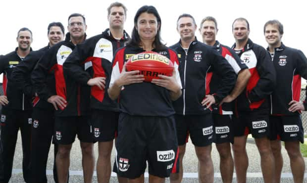 Peta Searle on the day she was appointed to St Kilda's coaching staff.