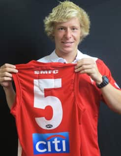 Isaac Heeny will wear number 5 at the Sydney Swans